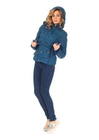 white winter: Beautiful woman in blue winter coat