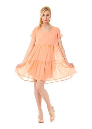 prom dress: Fashion model wearing coral prom dress