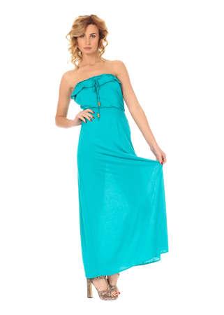 maxi dress: Fashion model wearing blue maxi dress