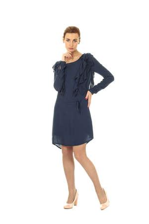cocktail dress: Fashion model wearing blue cocktail dress