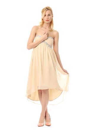 prom dress: Fashion model wearing yellow prom dress