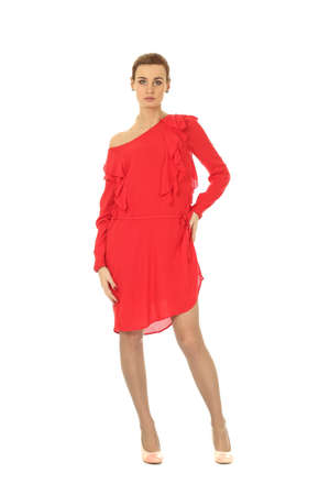 cocktail dress: Fashion model wearing red cocktail dress