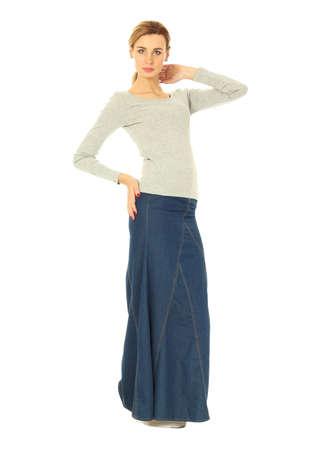 long skirt: Woman in long skirt standing in full length