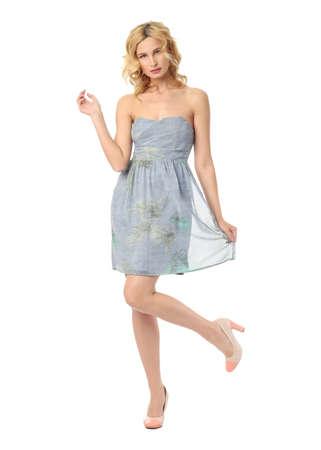 sundress: Fashion model wearing blue sundress isolated
