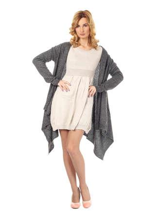 Fashion model wearing gray mini dress