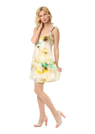 sundress: Fashion model wearing flowered sundress isolated