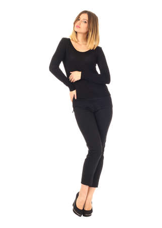 trousers: Pretty young girl wearing long black trousers
