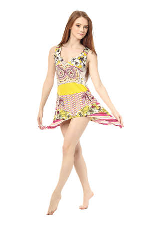 shoeless: Charming caucasian woman wearing dress isolated