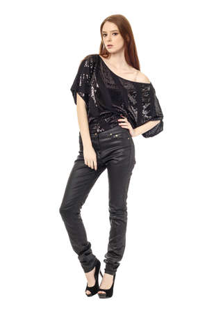 leather pants: Beautiful woman in leather pants isolated