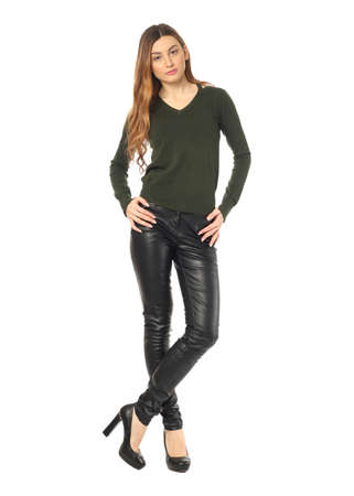 leather pants: Beautiful woman in leather pants isolated on white Stock Photo