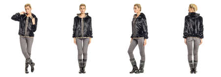 manteau de fourrure: Pretty blonde in black fur coat  isolated