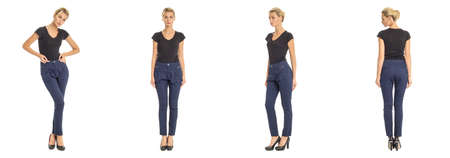 Young sexy blond woman in blue trousers Stock Photo