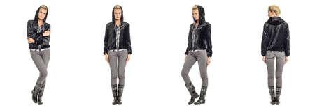 fur coat: Pretty blonde in  black fur coat isolated