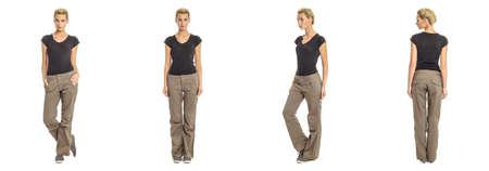 khaki pants: Young sexy blond woman in black shirt