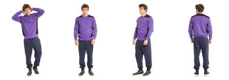 ropa deportiva: Varón joven con la ropa deportiva de color violeta