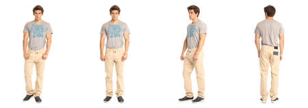 abdomen yellow jacket: Full length of handsome young man in yellow jeans Stock Photo