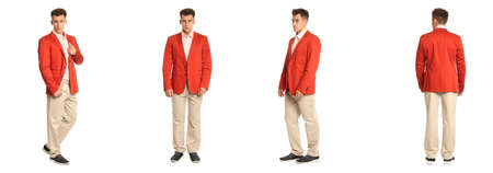 Charming elegant man in red jacket over white