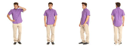 Handsome young man in violet shirt standing