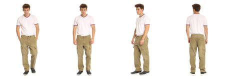 khaki pants: Handsome young man in white shirt standing