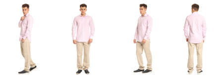 Handsome young man in pink shirt standing