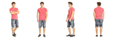 Image of muscle man posing in jeans shorts