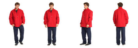 sportswear: Young male with in the red sportswear Stock Photo