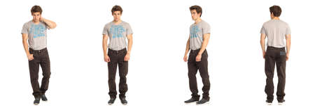 Full length of handsome young man in brown jeans