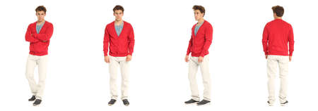 red cardigan: Handsome young man in red cardigan standing Stock Photo