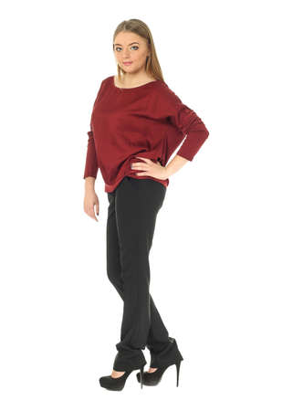 casually dressed: Full length studio shot of a casually dressed large woman