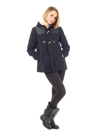 Full length portrait of woman wearing jacket isolated