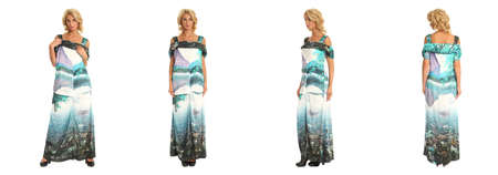 maxi: Beautiful woman in maxi dress isolated on white Stock Photo