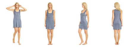 nightie: woman in blue nightie isolated on white