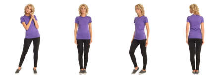Full length portrait of beautiful blonde in lilac shirt isolated