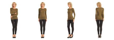 khaki pants: Full length portrait of beautiful blonde in khaki blouse isolated
