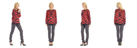 full length portrait: Full length portrait of beautiful blonde in striped sweater isolated