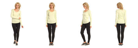 full length portrait: Full length portrait of beautiful blonde in lime blouse isolated Stock Photo