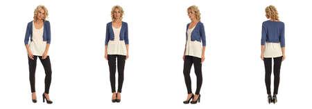 Full length portrait of beautiful blonde in blue bolero jacket isolated
