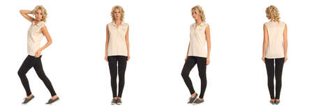 Full length portrait of beautiful blonde in beige shirt isolated Stock Photo