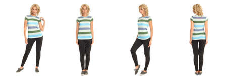 Full length portrait of beautiful blonde in striped shirt isolated Stock Photo