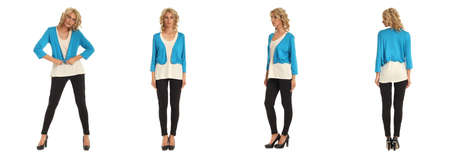 Full length portrait of beautiful blonde in white blue jacket isolated