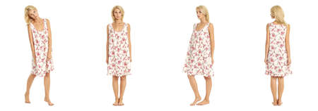 nightie: woman in summer nightie isolated on white Stock Photo