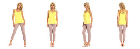 Blond fashion model in pink trousers isolated