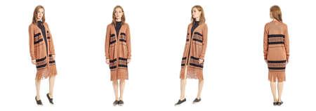 cardigan: Beauty stylish brunette woman posing in ethnic cardigan