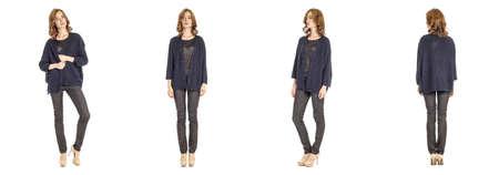 cardigan: Skinny brunette fashion model in blue cardigan isolated Stock Photo