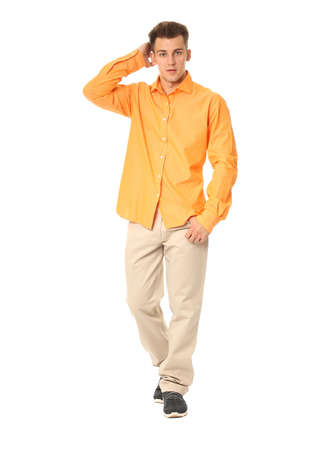the showman: Funny men dressed in yellow shirt with emotion Stock Photo