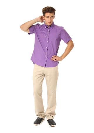 Funny men dressed in violet shirt with emotion