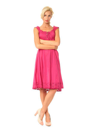 flirtation: Full length of flirtatious woman in pink dress isolated Stock Photo