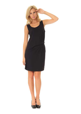 Full length of flirtatious woman in black dress isolated