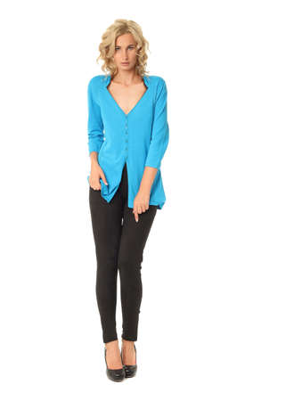 cardigan: Portrait of young beautiful blonde in blue cardigan