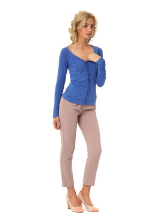 blond fashion model girl stand in pink trousers stock photo picture